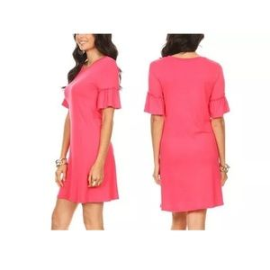 Coral Pink Ruffle-Sleeve Tunic Midi Stretch Dress